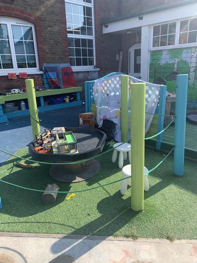 A spruced up mud kitchen, small world and writing area