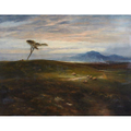 A Scottish moorland landscape painting.