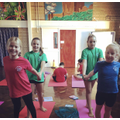 Year six girls enjoying their yoga session.