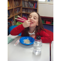 We learnt how to use chopsticks!