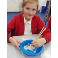 It was a challenge to eat rice!