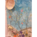 Lily's origami, paint and natural materials design