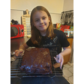 Amelia's chocolate cake cooling.