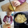Preparing the potatoes.