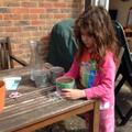 Anja planting sunflower seeds