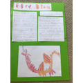 Zack's writing about his dragon