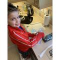 Benjamin has been enjoying the science work