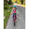Alisha learning to ride her bike