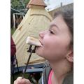Enjoying marshmallows!