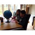 Anja and Johan doing geography