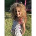 Mia's rainbow hair for the NHS