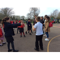 Playing outside with our French friends