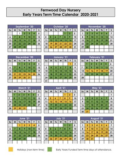 FDN Term time Calendar 2020-2021