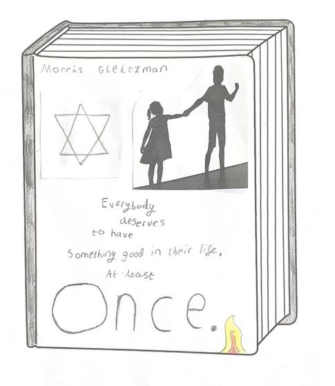 Adam's book cover design for 'Once' by Morris Gleitzman- being read for us by Mr. Addinall