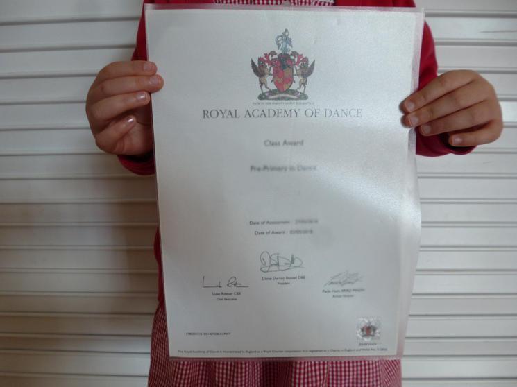 RAD Class Award, Pre Primary in Dance.