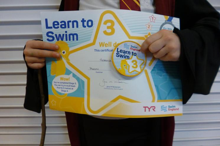 She achieved her Level 3 Learn to Swim Award.