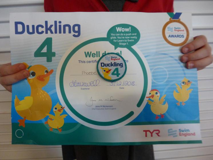 Achieving your Duckling 4 swimming award