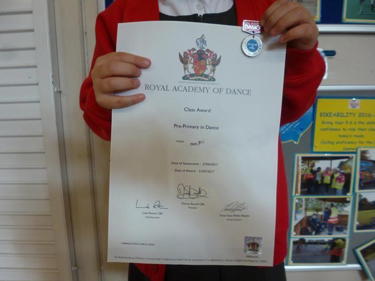 """Class Award - """"Pre-Primary in Dance"""""""