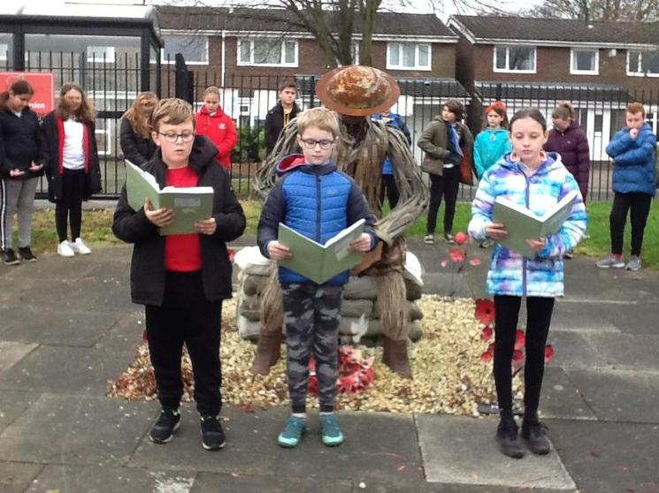 Mason, Alex and Bobbi sharing their WW1 poems inspired by In Flanders Fields.