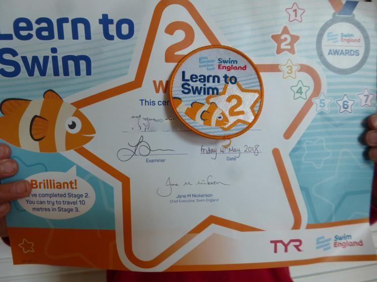 Learn to Swim - Level 2 certificate and badge.