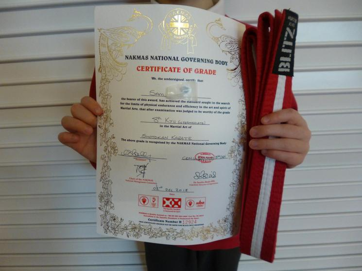 Achieving his Karate Grading!