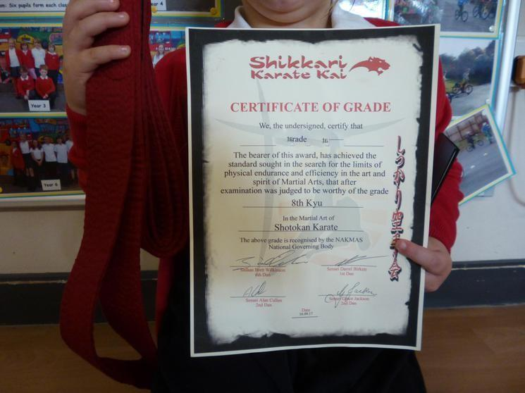 R & E Achieved 8th Kyu, Red Belt