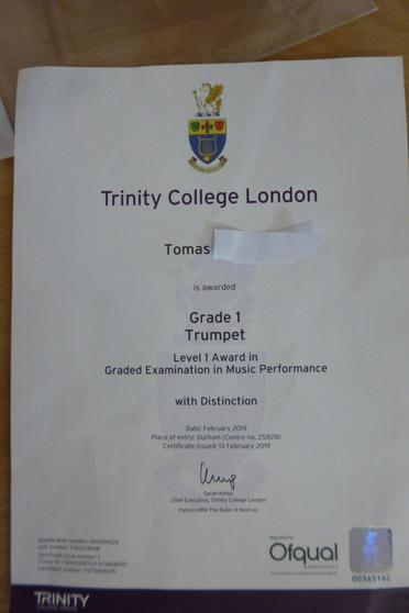 G1 Trumpet Pass with distinction - WELL DONE!