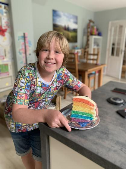 Adam's rainbow cake...YUM!!