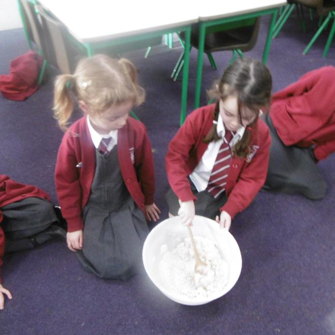 Busy mixing the ingredients!
