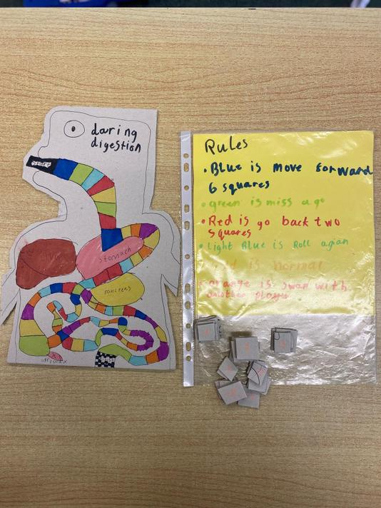 Ben designed a game to demonstrate his digestion knowledge