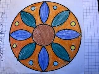Symmetry in shapes and colour, neatness, ruler lines