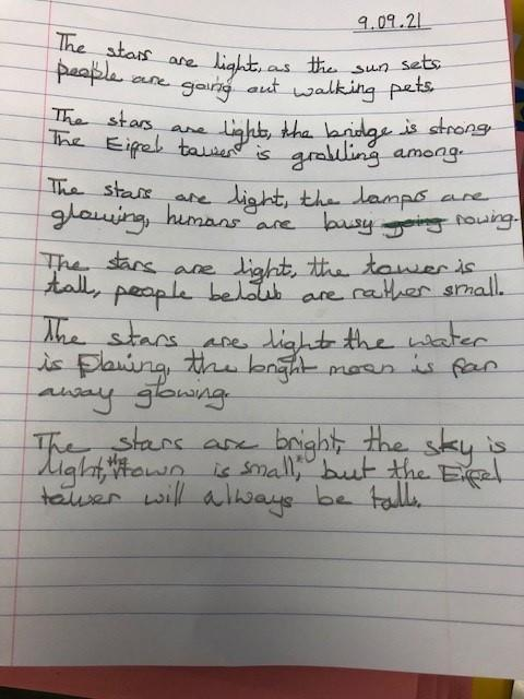 This was a 'free write' poem Allegra created based on the painting.