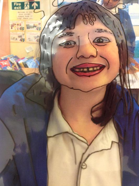 Use a clear plastic folder and trace the outline of your self portrait