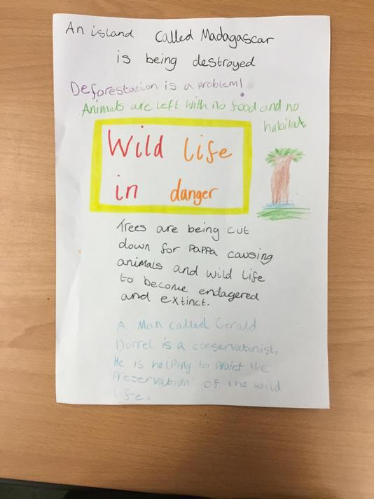 Bella's bright and attractive poster about Gerald Durrell