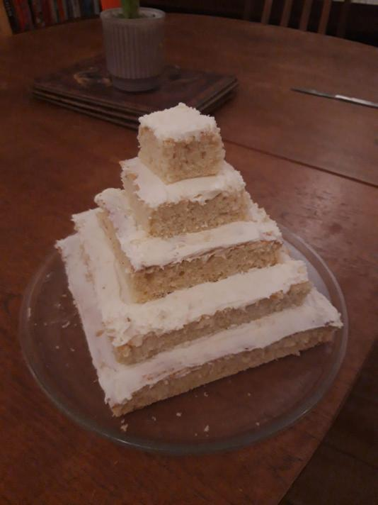 Esther designed and created a delicious pyramid cake.