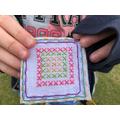 cross stitch, back stitch, blanket stitch