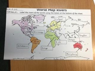 Learning about the main rivers in the world, which continents they are in and the oceans