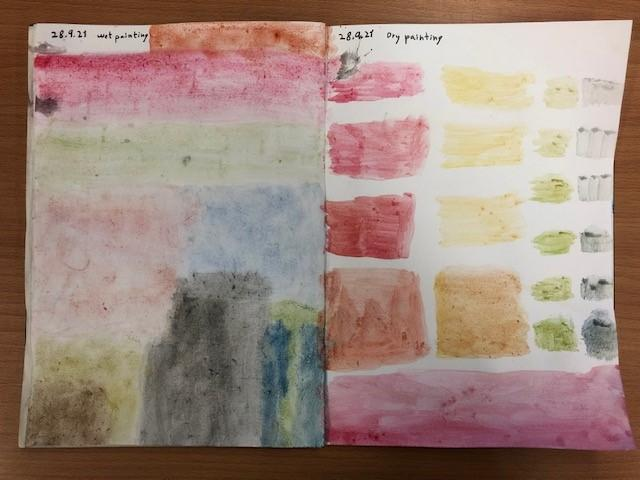 Wet the page with a brush, add watercolour paint and watch the colours  bleed and blend.