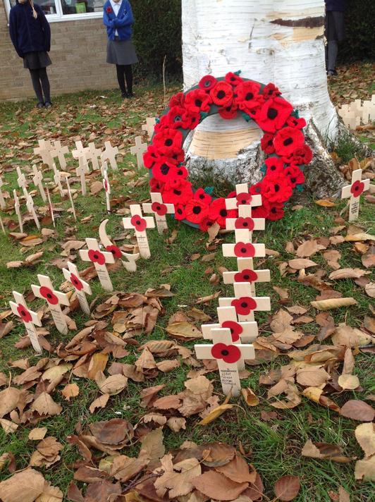The memorial outside school with names of local soldiers and heroes who fought.