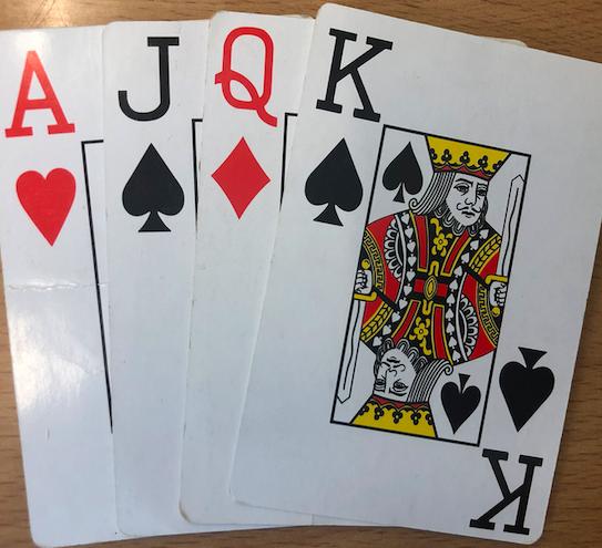 A = 1, J = 10, Q = 11, K = 12