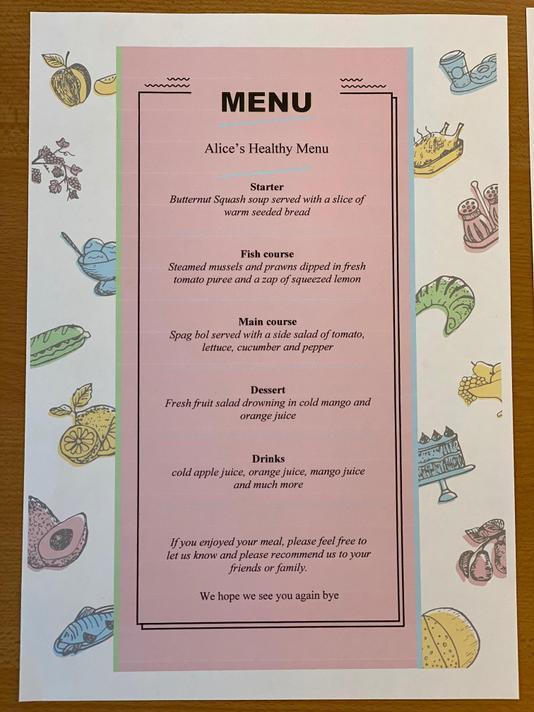 Alice's menu is full of healthy food