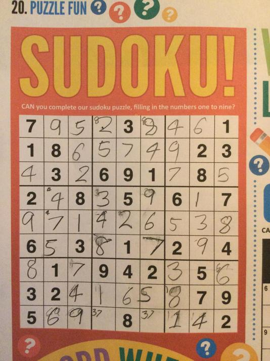 Harry tested his brains further with the Sudoku puzzle in First News