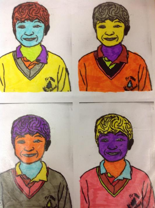Duplicate the print. Colour  each one differently in the style of Andy Warhol