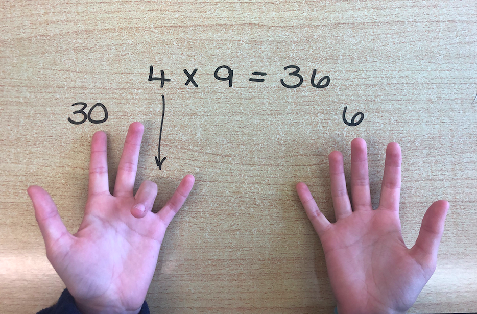The magic 9x table trick - thanks for your hands Freya