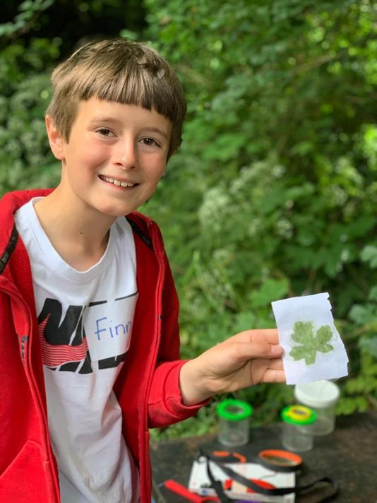 Leaf printing - all you need is a block, a hammer, fabric and an interesting leaf!