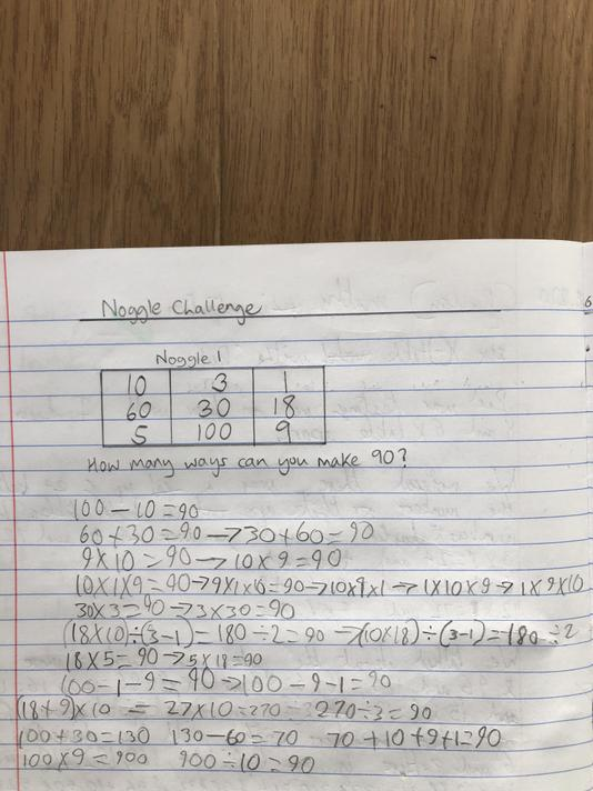 Noggle challenge - applying problem solving to find  answers  using different operations