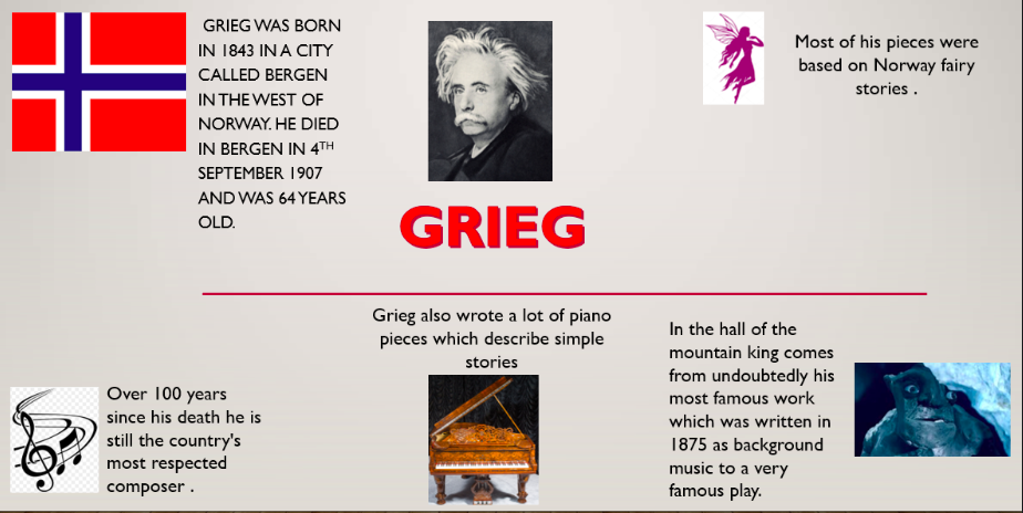 Alice researched the composer Grieg and presented her work with well chosen images