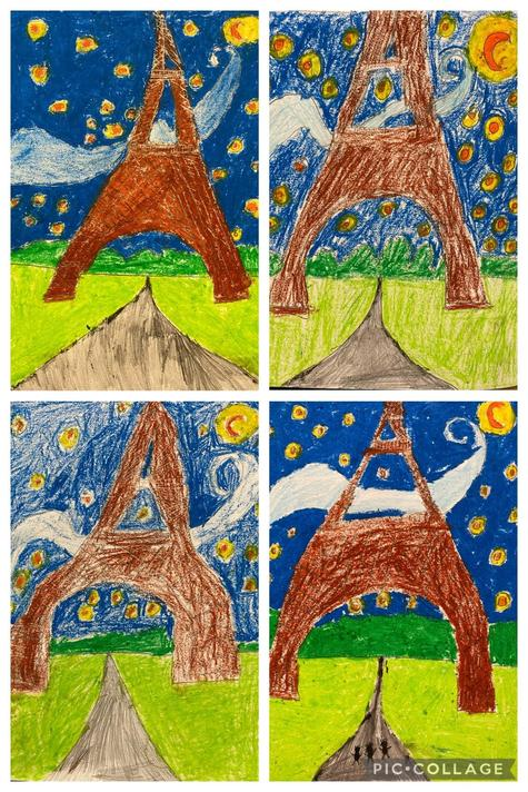 The skill of cross hatching was used on the Eiffel Tower.