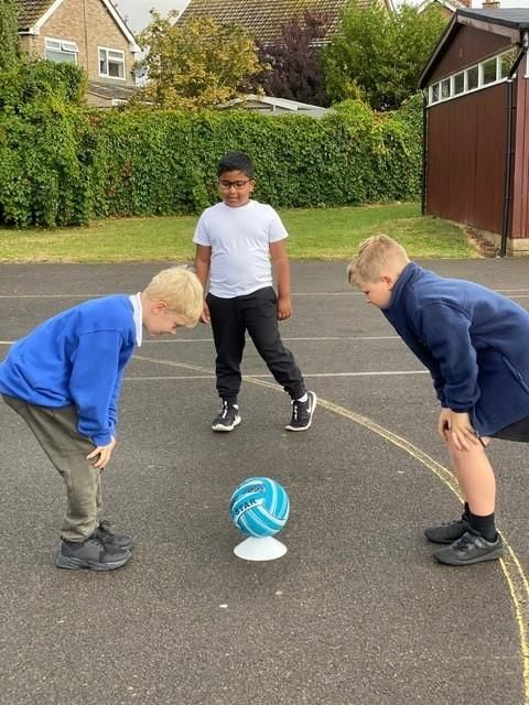 If knees is called, touch your knees. Bent knees work really well for this game!