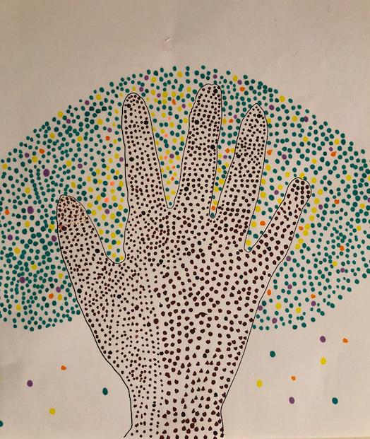 Evie's pointillism tree
